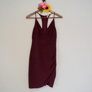 Charlotte Russe Maroon Strap Back Dress XS